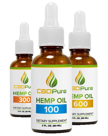 three bottles of CBD hemp oil