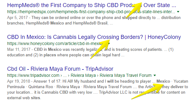 shipping CBD products to Mexico