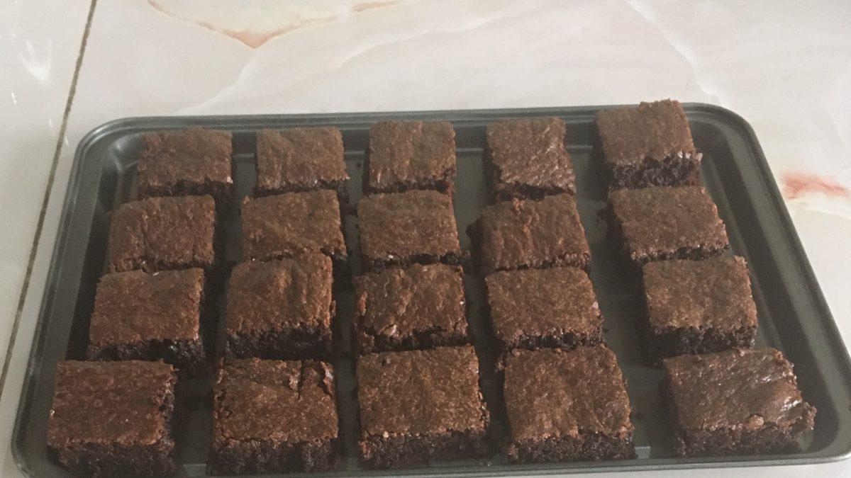 A pan of brownies