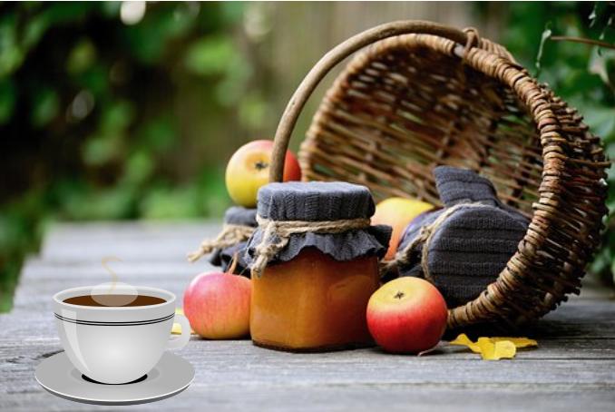 Coffee, basket of apples, jam
